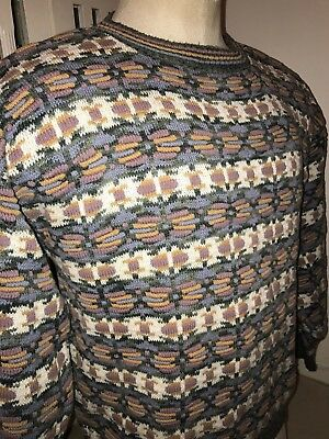 VINTAGE 90s CROSSINGS BRAND COSBY SWEATER SZ M 100% COTTON COOGI HIP HOP BIGGIE