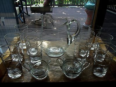 Water Pitcher Set (10) Tumblers & Sugar Creamer Libbey Glass Co TWIRL cut spiral