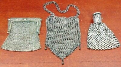 Antique Lot Of 3 Small Silver Tone Metal Mesh Purses Art Deco