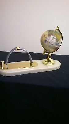 Globe With Semi Precious Stones Gemstone Marble GOLD Color Letter Rack PERFECT