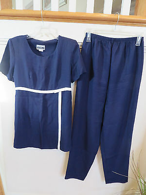 GreatTimes Maternity 2pc Navy Short Sleeve Blouse Top Pants Set Size Medium EUC