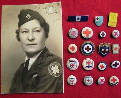 WWII Red Cross Motor Service Photo & large lot of Red Cross Pins, 1 is Numbered