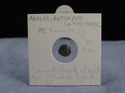 Ancient Greek Coin Aiolis Aeolis Autokane 400-300 Bc Apollo Vf Rare