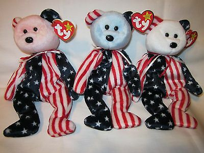 Authentic 1999 Spangle Beanie Baby Pink, Blue, White Heads with ERRORS