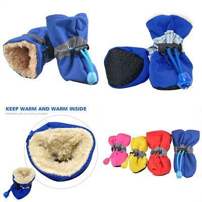 4Pcs Waterproof Pet Non-slip Shoes Winter Dog Cat Snow Boots Warm Puppy Booties