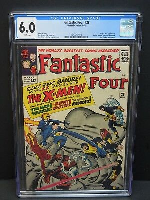 Marvel Comics Fantastic Four #28 1964 Cgc 6.0 White Pages Early X-Men Appearance