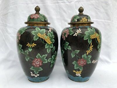 Large Pair Antique Chinese Cloisonne Jars Black Qing Dynasty 19th Century