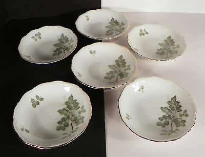 Mitterteich GREEN LEAVES Berry Fruit Bowl (s) LOT OF 6 Goldtone Trim