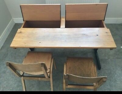 Old School Desk With 2 Chairs