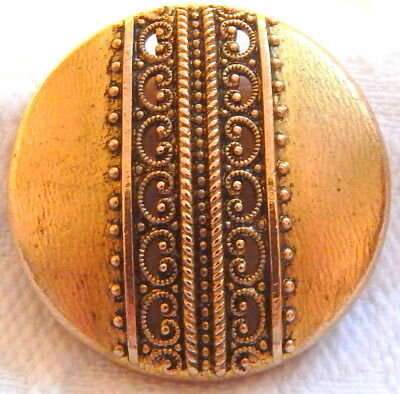 ANTIQUE 19th CENTURY GILT BRASS BUTTON w/LACY PIERCED STRIP CENTER & ROLLED RIM