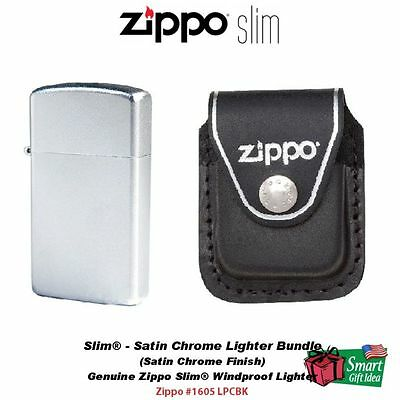 Zippo Slim, Satin Chrome Lighter and Black Leather Belt Pouch #1605_LPCBK