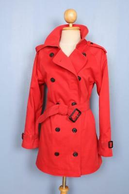 BEAUTIFUL Womens BURBERRY Double Breasted Short TRENCH Coat Mac Red 8/10