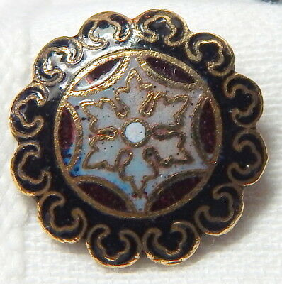 ANTIQUE 19th CENTURY GILT BRASS & CHAMPLEVE ENAMEL BUTTON w/SCALLOPED RIM