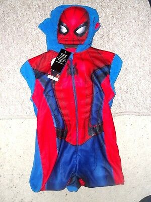 BOYS SPIDER-MAN ONE-SUIT WITH HOOD ; New with Tags ; lovely design ; 5-6 years