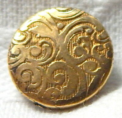 ANTIQUE 19th CENTURY GILT BRASS BUTTON w/ELEGANT SCROLL PATTERN