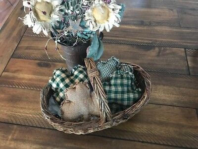 Homespun Plaid Ornies Bowl Fillers PrImITive Green Shamrocks St. Patrick's Day 4