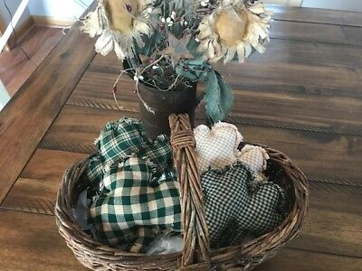 Homespun Plaid Ornies Bowl Fillers PrImITive Green Shamrock St. Patrick's Day