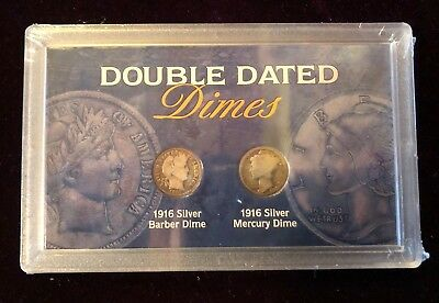Double Dated Dimes,1916 Silver Barber Dime AND 1916 Silver Mercury Dime (118023)