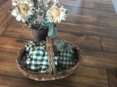New Homespun Plaid Ornies Bowl Fillers PrImITive Green Shamrock St Patrick's Day