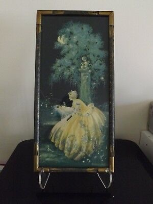 1920s Art deco Print by Marygold in original frame Mother & baby 7.5X15.5 inches