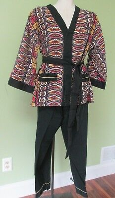 Vintage Mens Oriental Design Pajamas/ 42/44 / Sears Premiere Collection