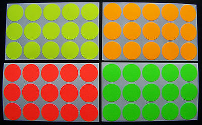 500 Self Adhesive Color Florescent Labels Dots Price Tags Tabs Stickers 3/4""