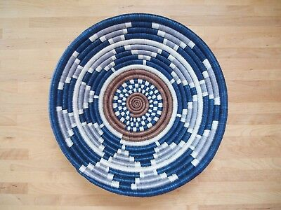 """African Sisal Coil Basket 12"""" Blues"""
