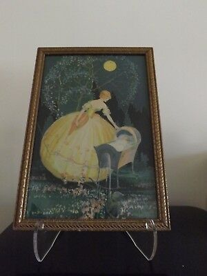 1920s Art Deco print by Marygold Mother and child original frame 9X13 inches