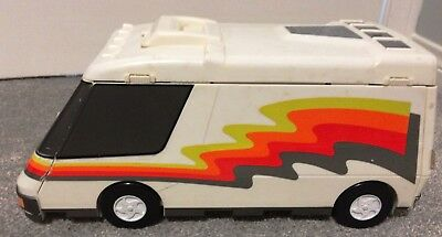 vintage Galoob Micro Machines Super Van City Fold-Out Playset with 8 vehicles