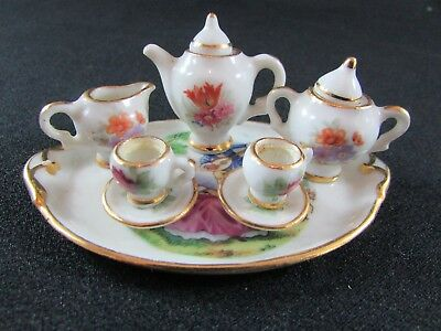 Miniature Limoges Porcelain Teaset for Two on Tray c. Mid 20th Century