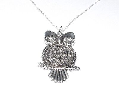 1958 61st Birthday Sixpence Owl  Pendant for Gift boxed with 18 inch SS Chain