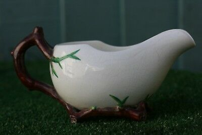 SUPERB 19thC MINTON'S MAJOLICA CREAMER WITH TWIG HANDLE & STAND DECORATION c1870