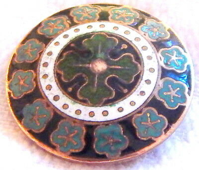 ANTIQUE 19th C. FRENCH GILT BRASS BUTTON w/BLACK, WHITE & GREEN CHAMPLEVE ENAMEL