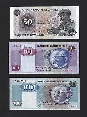 1976 Angola 50 Kwanzas, 1984 100 and 1000 Kwanzas, AU to UNC, Trio of 3 Notes