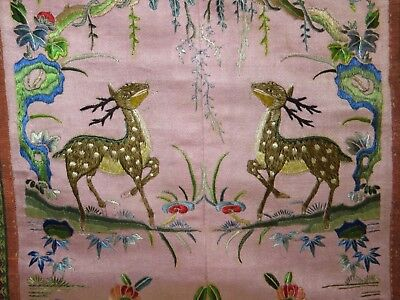 Rare Color Pair of Chinese Sleeve Bands Great Embroidery Antique Excellent!