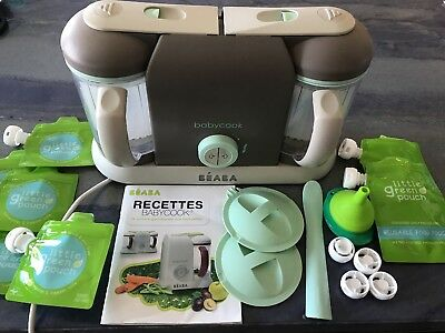 Beaba Babycook Pro 2X Baby Food Maker in Latte Mint + Little Green Pouches (7)