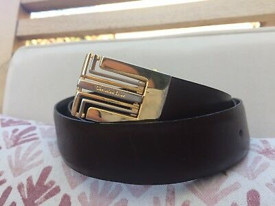 Christian Dior Vintage Reversible Belt and Buckle Brown to Black Small Medium