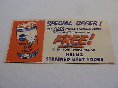 Vintage  Heinz Free Baby Food Coupon