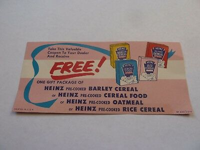 Vintage  Heinz Free Cereal Coupon
