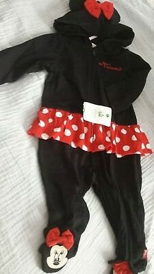 Disney Minnie Mouse One Piece Baby Girl  Sweatshirt Outfit Coverall 3-9 Months