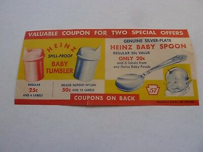 Vintage  Heinz Valuable Coupon for Baby Tumbler and Baby Spoon
