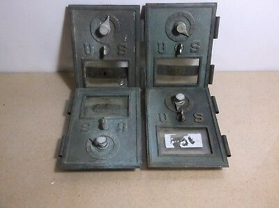 C1     4 Early Antique Combination Copper Post Office Doors With Glass,