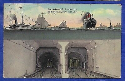 US-Postkarte v. 1912, Pennsylvania R. R. Tunnel under the Hudson River