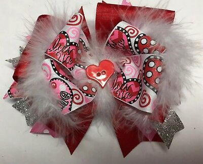 Valentine's Day Boutique Stacked Hair Bow Glitter Red with Feathers Girl Clip