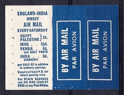 GB = 1930 Airmail Label Booklet Pane with Rates to India, etc. Mint Hinged.