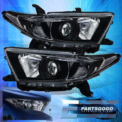 For 2011 2012 2013 Toyota Highlander Black Clear Headlights Factory Style Pair
