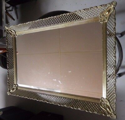 "Vtg Filigree Mirror Vanity Perfume Tray Mirrored Large 18"" X 12"""