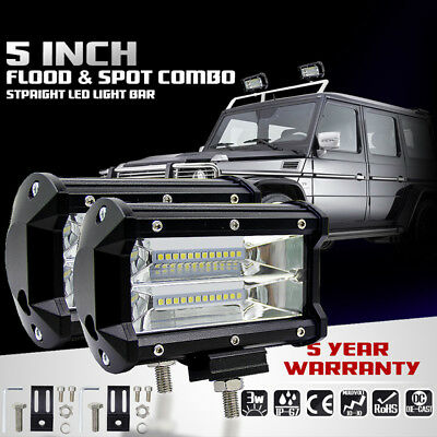 2x 5 inch 72W Flood LED Work Light Bar Offroad Boat Fog Driving Lamp DC 10-48V
