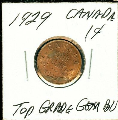 1929 Canada  Cent Top High Graded Mint State Gem Bu Red Rare .