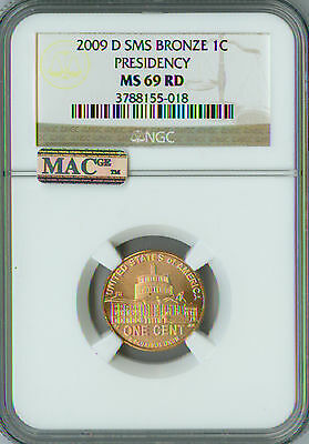 2009-D LINCOLN CENT LOGO PRESIDENCY NGC MAC MS69 RED SMS FINEST GRADE SPOTLESS .